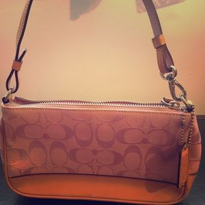 Coach pink and beige shoulder bag